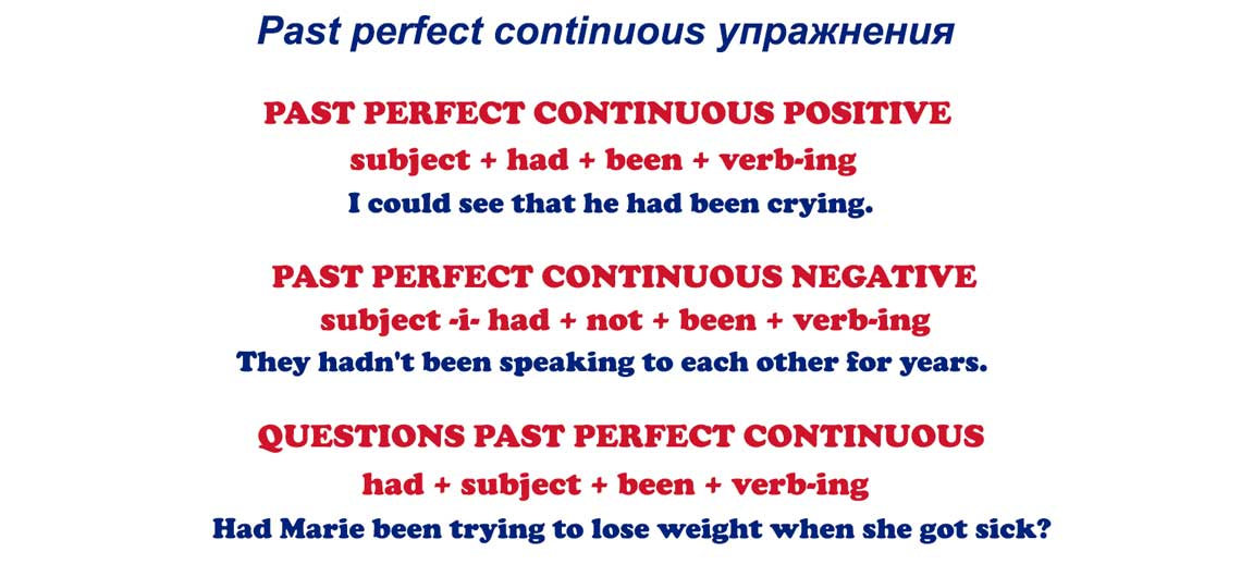 Past perfect continuous упражнения