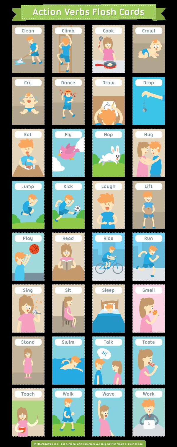 Карточки английские глаголы