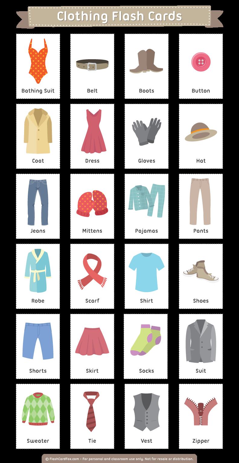 Карточки английского на тему одежда