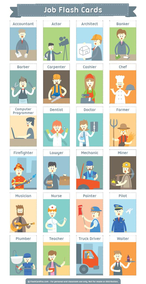 Карточки на тему профессии
