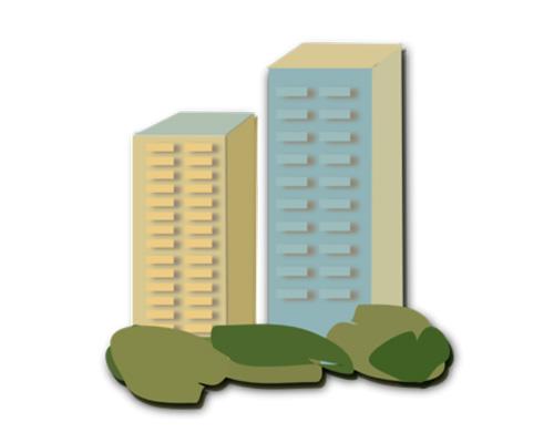 Многоквартирный дом по-английски - block of flats [blɒk əv flæts]