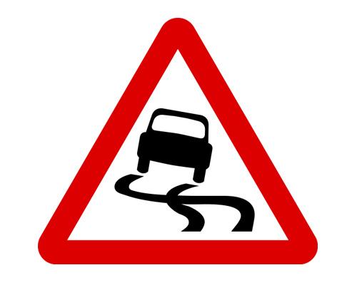 "Знак ""скользкая дорога"" в Англии - Slippery road"