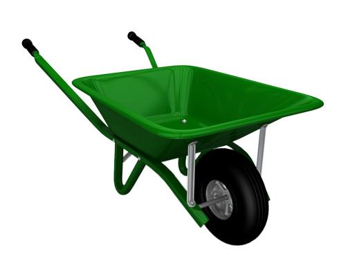 A wheelbarrow is used by a gardener