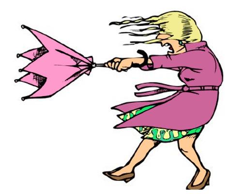 Когда дует ветер, по-английски это - It's windy