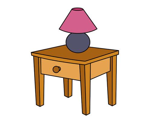 Прикроватный столик по-английски - bedside table [ˈbedsaɪd teɪbl]