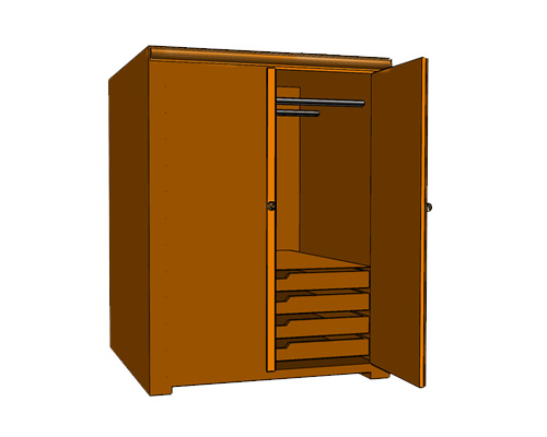 Гардероб, платяной шкаф, шифоньер по-английски - wardrobe [ˈwɔːdrəʊb]