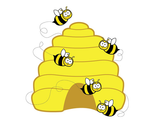 A bee lives in a hive (hive [haɪv] - улей)